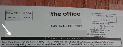 Office Set Visit Call Sheet