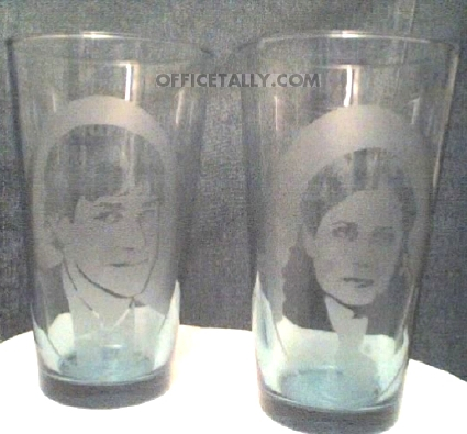 The Office etched glasses