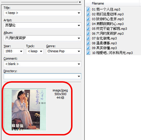 Mp3tag showing the existence of album art