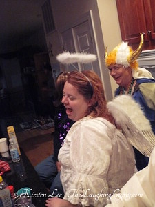 Viking and angel at SCA Shire of Sylvan Glen Halloween Party