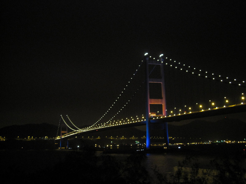 Tsing Ma Bridge at Night Time