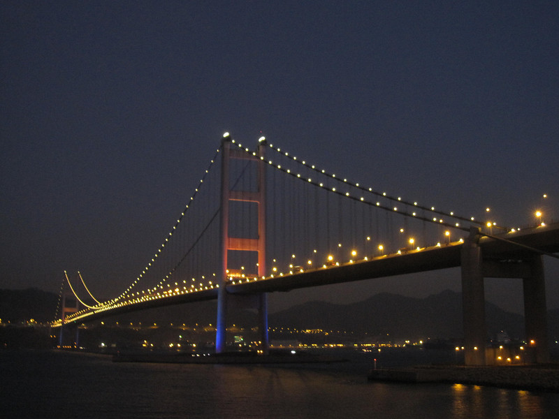 Tsing Ma Bridge in Late Evening