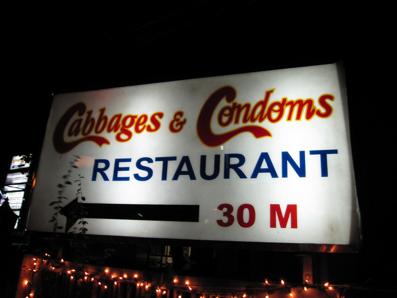 Sign leading to Cabbages and Condoms