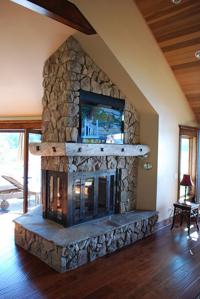 large fireplace in drift stone