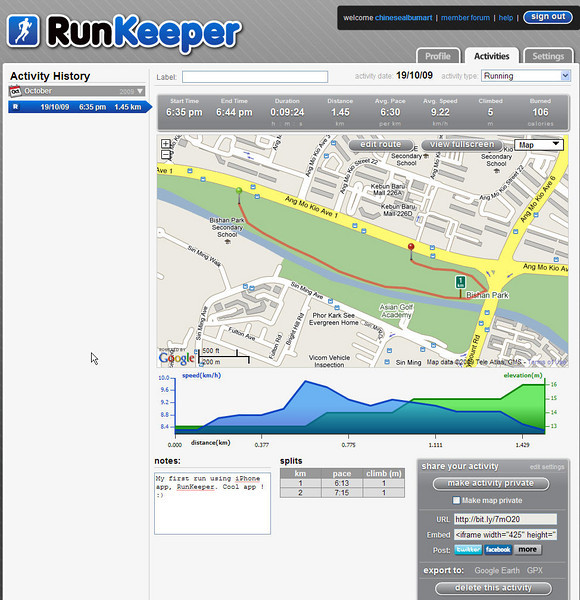 Map of my run in Runkeeper Web Site