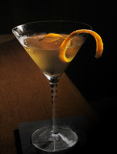Chrysanthemum Cocktail with orange twist, photo © 2009 Douglas M. Ford. All rights reserved.