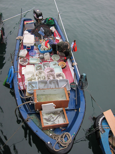 Fisherman selling seafood at Sai Kung Ferry Pier Waterfront