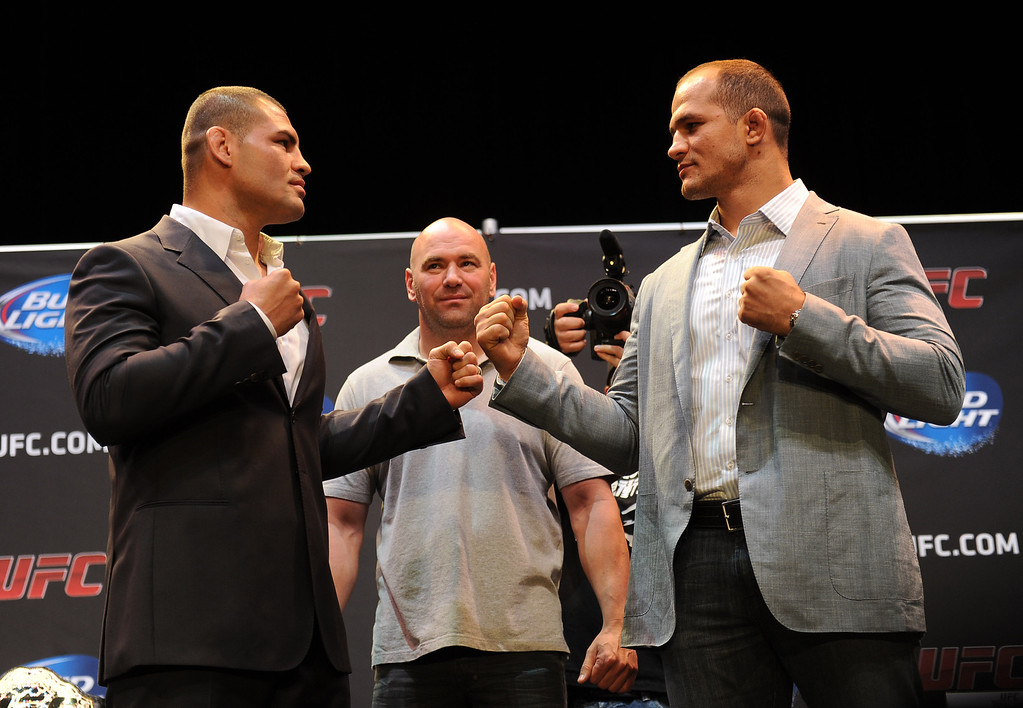 . UFC heavyweight champion Cain Velasquez  with challenger Junior dos Santos during the UFC World Tour at Club Nokia Tuesday, July 30, 2013 in Los Angeles. (Hans Gutknecht/Los Angeles Daily News)