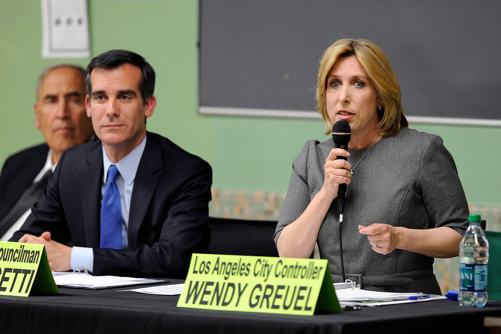 . Mayoral candidates Wendy Greuel speaks during the debate with Eric Garcetti at Notre Dame High School, Wednesday, April 17, 2013. (Michael Owen Baker/Staff Photographer)