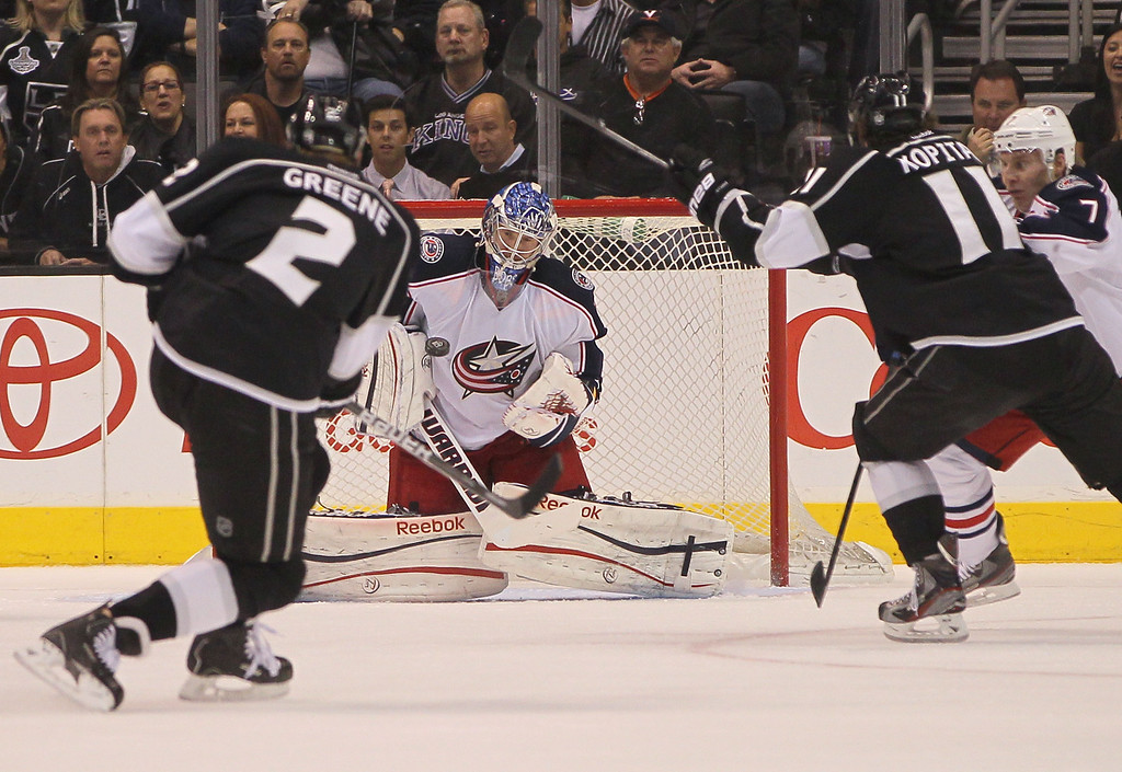 . LOS ANGELES, CA - APRIL 18:  Goaltender Sergei Bobrovsky #72 of the Columbus Blue Jackets makes a save on a shot by Matt Greene #2 of the Los Angeles Kings from the point in the third period during the NHL game at Staples Center on April 18, 2013 in Los Angeles, California. The Kings defeated the Blue Jackets 2-1. (Photo by Victor Decolongon/Getty Images)