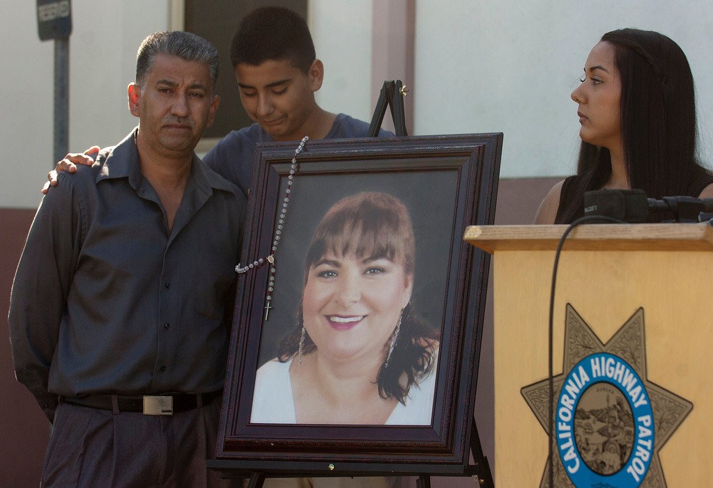 . The CHP and the victim\'s family members hold a press conference at the Rancho Cucamonga station Tuesday, October 1, 2013. The department is seeking information about a hit and run in Fontana that killed Maria De Los Angeles Chagolla in August. (Jennifer Cappuccio Maher/Inland Valley Daily Bulletin)