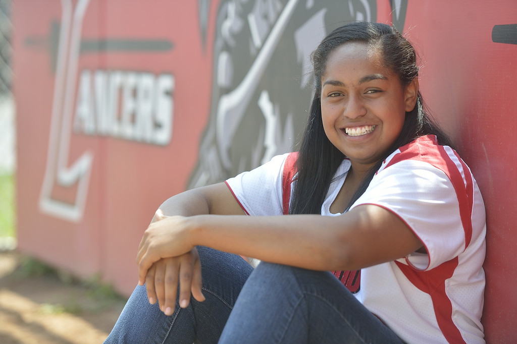 . LAKEWOOD, CALIF. USA -- Press-Telegram All-Area softball Player of the Year, Lakewood\'s Janel Hayes on Friday, June 7, 2013, in Lakewood, Calif. Photo by Jeff Gritchen / Los Angeles Newspaper Group