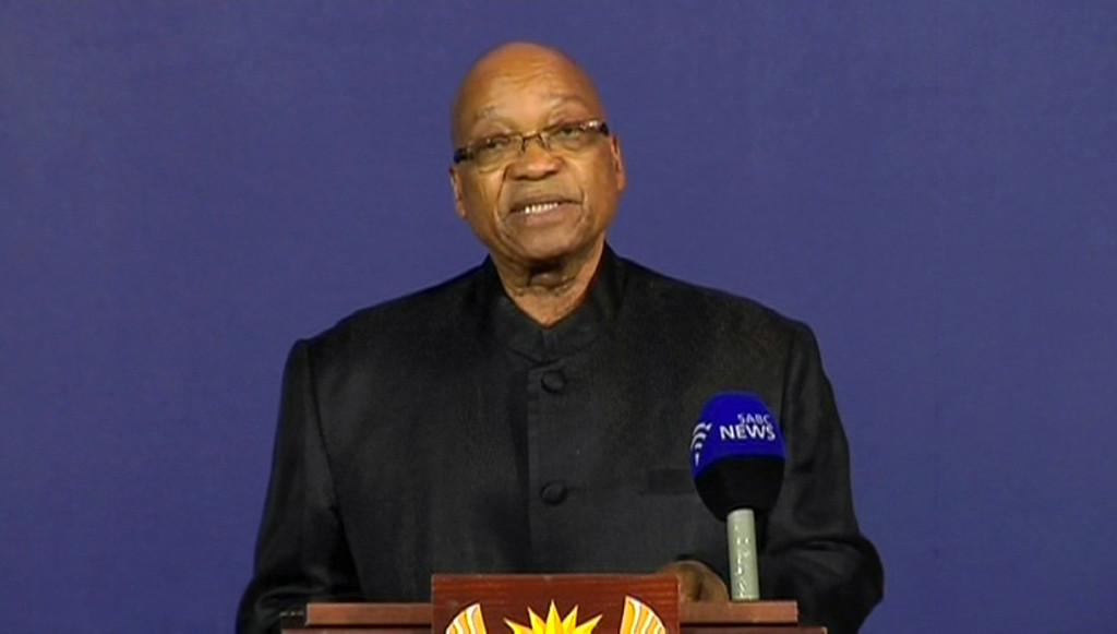 ". In this image from live TV, President of South Africa Jacob Zuma announces the death of former South African President Nelson Mandela, to the media Thursday Dec. 5, 2013, from a podium in Pretoria, South Africa.  Zuma announced Thursday that former President Nelson Mandela has died aged 95, Zuma says ""we\'ve lost our greatest son.\"" (AP Photo/SABC pool)"