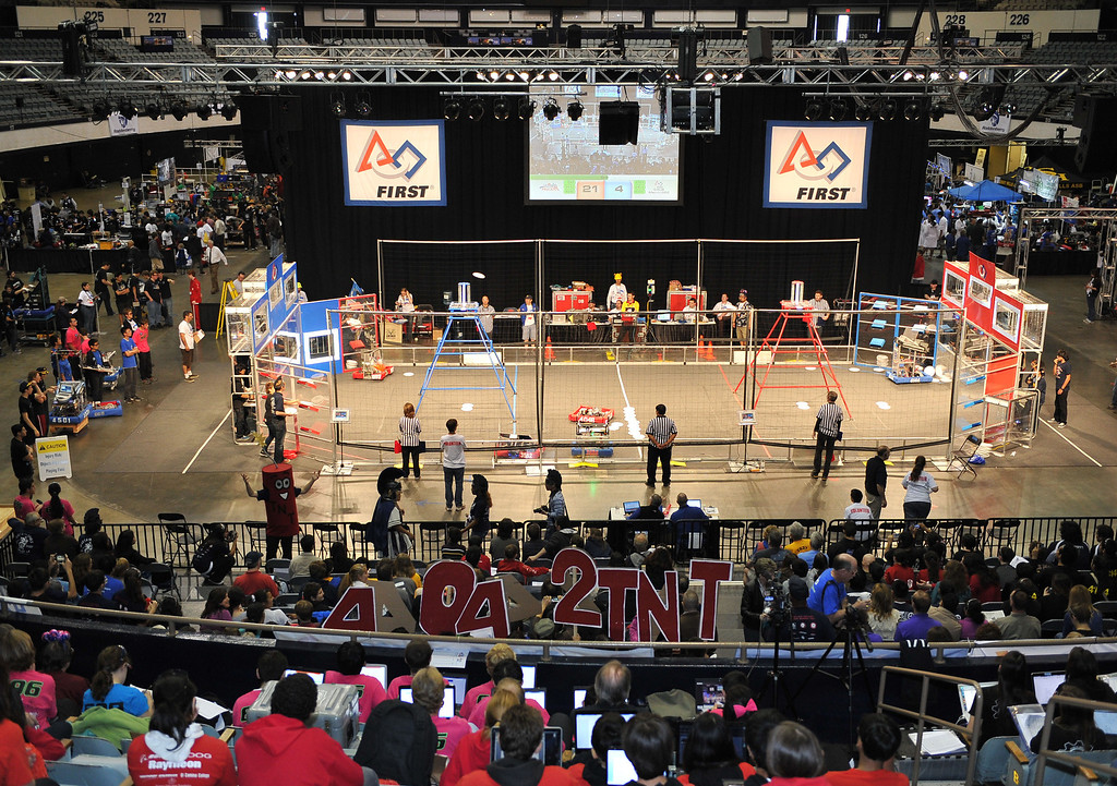 . 3/22/13 - More than 1,500 high school students from California, Hawaii and Chile are competing in the 22nd FIRST Robotics Los Angeles Regional Competition at the Long Beach Arena.This years robotic task is throwing discs for points. Photo by Brittany Murray / Staff Photographer