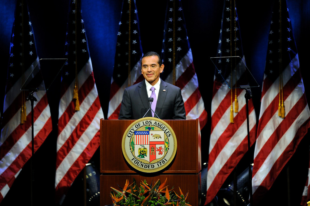 . Mayor Antonio Villaraigosa smiles at the applause before his State of the City address at UCLA, Tuesday, April 9, 2013. (Michael Owen Baker/Staff Photographer)