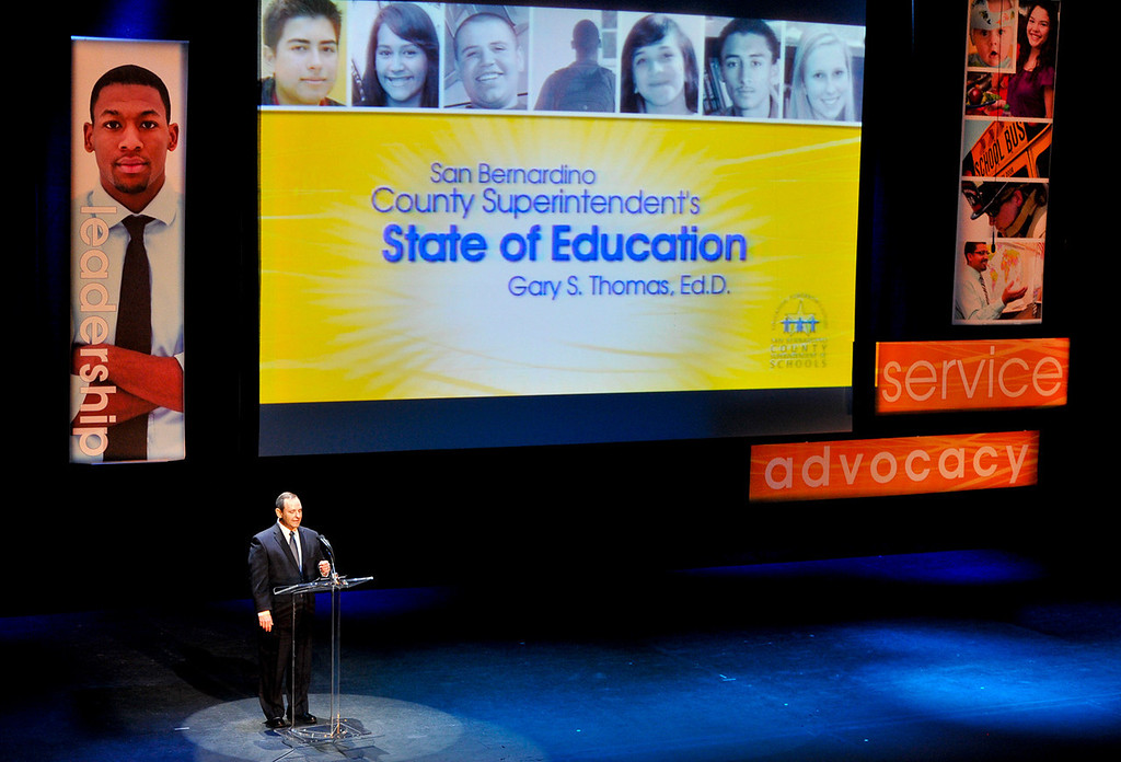 Description of . San Bernardino County Superintendent of Schools Gary Thomas gives the 2013 State of Education address at the California Theatre of the Performing Arts in San Bernardino on Tuesday, March 5, 2013. (Rachel Luna / Staff Photographer)