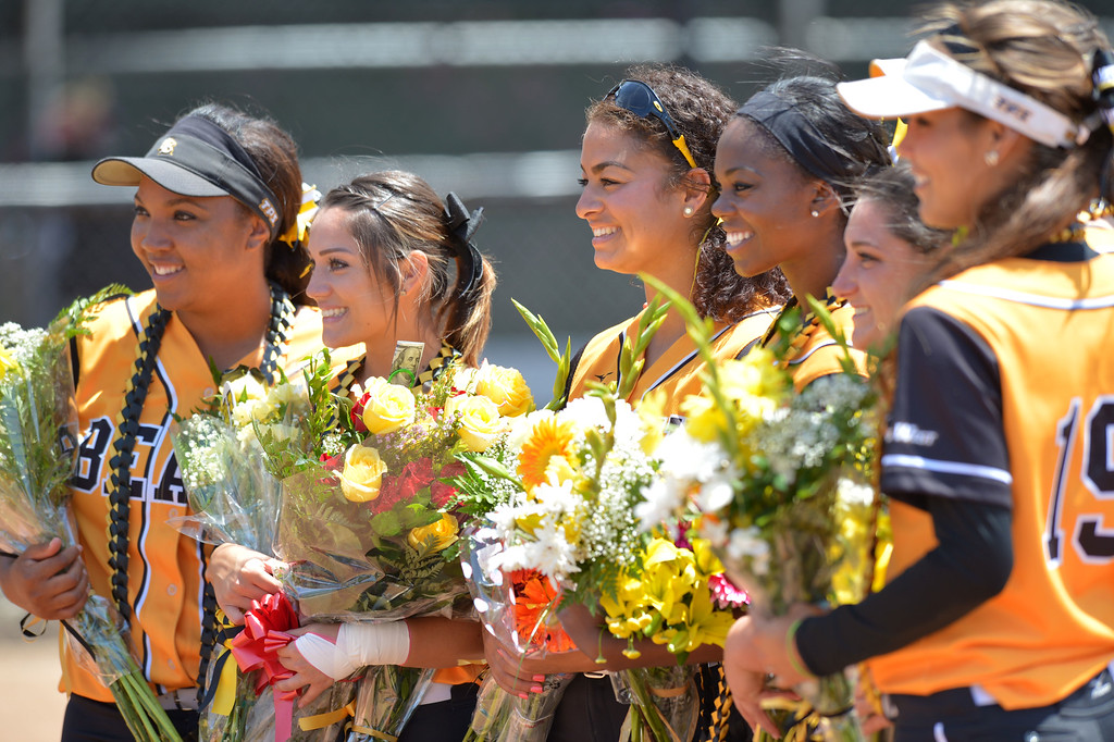 . LBSU seniors are honored before LBSU lost to Cal Poly softball 3-0 in Long Beach, CA on Sunday, May 4, 2014.  (Photo by Scott Varley, Daily Breeze)