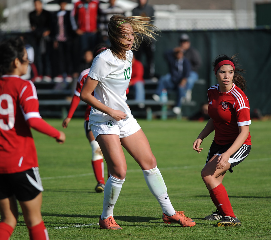 . 02-21-2012--(LANG Staff Photo by Sean Hiller)- South Torrance girls soccer beat Artesia 5-0 in Thursday\'s CIF Southern Section Division IV quarterfinal at South High. Kyla Diekmann gets her third goal and a hat trick in the first half.
