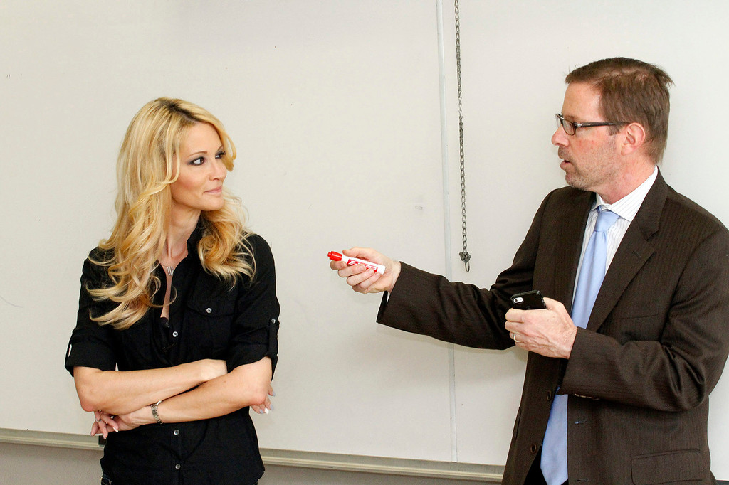 ". Jessica Drake, Sex Educator and Adult Film Star, speaks in Professor Hugo Schwyzer\'s ""Navigating Pornography\"" class at Pasadena City College, in Pasadena, Wednesday, March 20, 2013. (Correspondent Photo by James Carbone/SXCITY)"