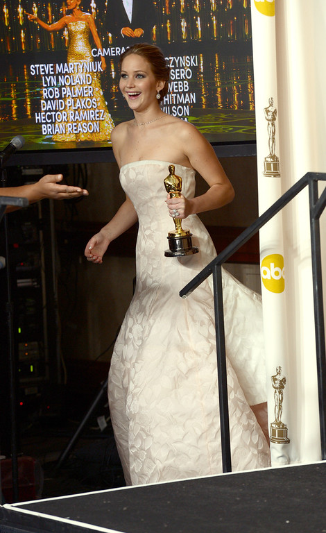 Description of . Jennifer Lawrence won the award for best actress in a leading role for