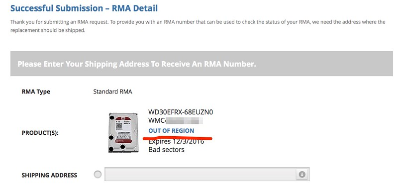 RMA Amazon WD drives from Singapore