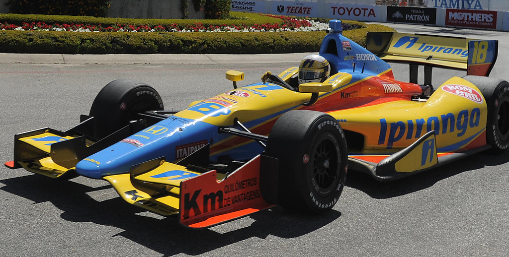 . 04-19-2013-(LANG Staff Photo by Sean Hiller)- Ana Beatriz in the practice for the Indycar at the Toyota Grand Prix Friday in Long Beach.
