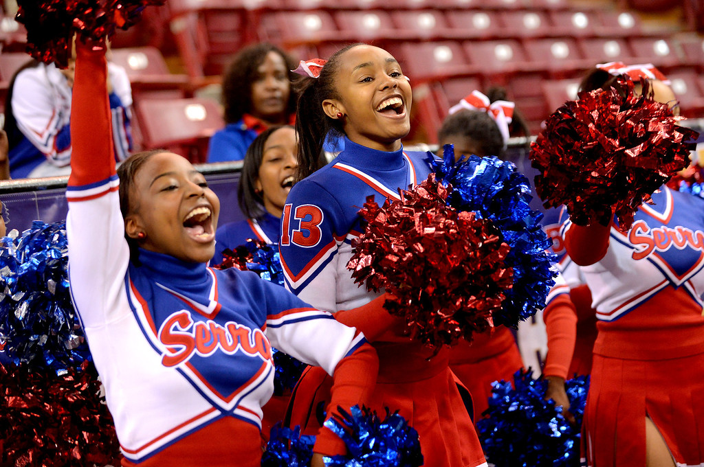 . Serra High School cheerleaders support their team during the Division IV 2013 CIF State Basketball Championships at Sleep Train Arena, in Sacramento, Ca March 23, 2013.  Serra won the game 62-60.(Andy Holzman/Los Angeles Daily News)