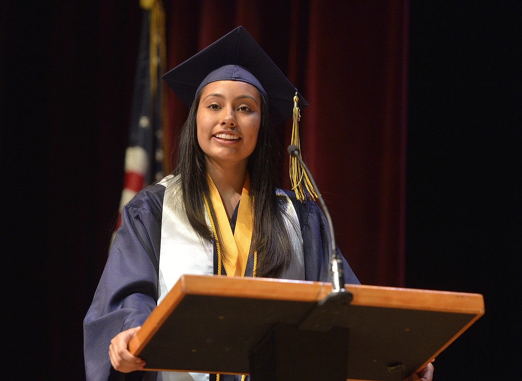 . TORRANCE, CALIF. USA -- Valedictorian Stephanie Lugo during commencement ceremonies for Lennox Math, Science & Technology Academy at El Camino College in Torrance, Calif., on June 8, 2013.   Photo by Jeff Gritchen / Los Angeles Newspaper Group
