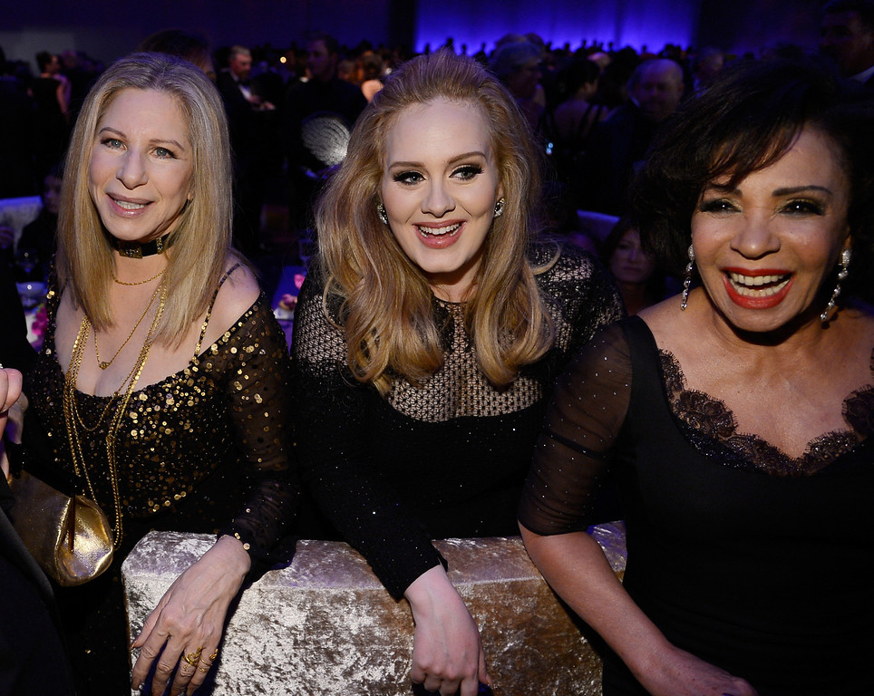 . Singers Barbra Streisand, Adele, winner of the Best Original Song award for \'Skyfall,\' and Shirley Bassey  attend the Oscars Governors Ball at Hollywood & Highland Center on February 24, 2013 in Hollywood, California.  (Photo by Kevork Djansezian/Getty Images)