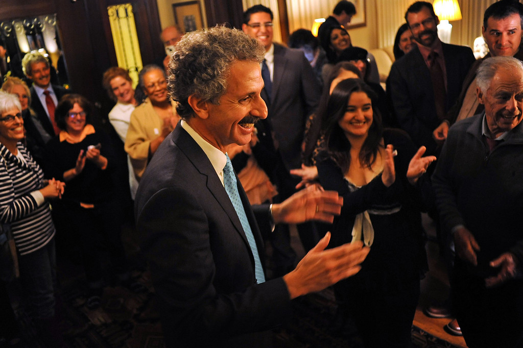 . City Attorney candidate Mike Feuer lets out a smile as he thanks supporters during his election night party in Los Angeles, CA March 5, 2013.(Andy Holzman/Los Angeles Daily News)