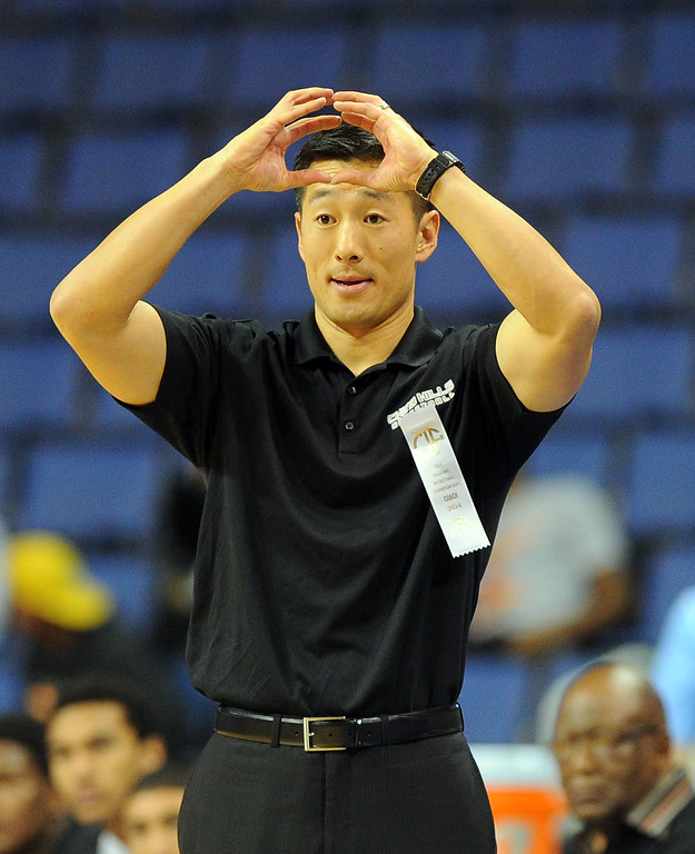 . Chino Hills head coach Steve Baik calls a play at Citizens Business Bank Arena in Ontario, CA on Saturday, March 22, 2014. Chino Hills vs Centennial in the CIF boys Div 1 regional final. 1st half. Photo by Scott Varley, Daily Breeze)