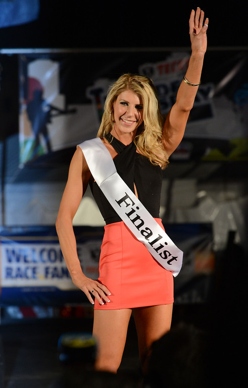 . Long Beach, Calif., -- 04-18-13-  Finalist Maggie Lane competes in the 2013 Tecate Light Miss Toyota Grand Prix of Long Beach  pageant Thursday night on Pine Avenue at the Tecate Light Thunder Thursday on Pine.   Stephen Carr/  Los Angeles Newspaper Group