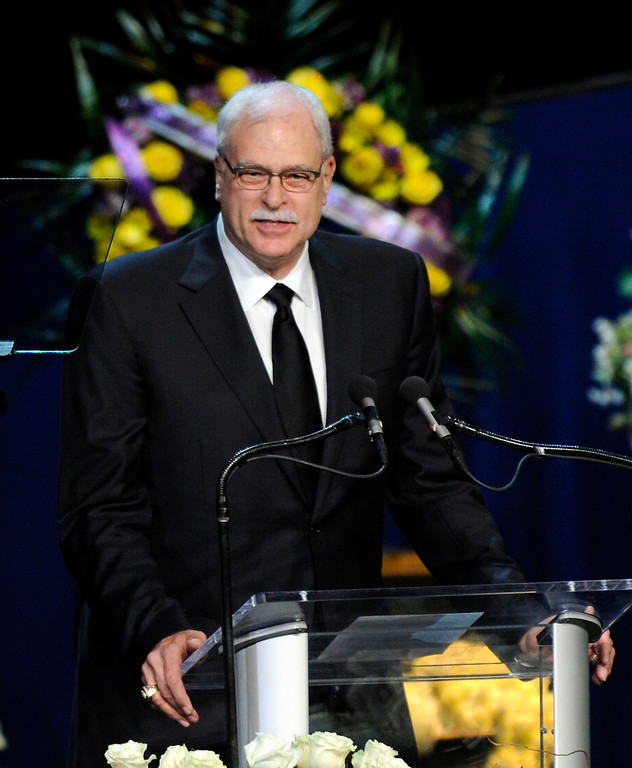 . Phil Jackson speaks at the Jerry Buss Memorial Service at Nokia Theatre, Thursday, February 21, 2013. (Michael Owen Baker/Staff Photographer)