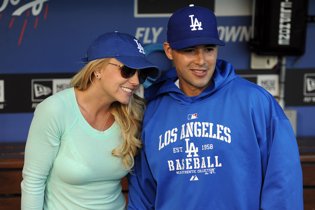 . Singer Brittany Spears poses for a picture with Los Angeles Dodgers\' Andre Ethier prior to a baseball game between the San Diego Padres and the Los Angeles Dodgers on Wednesday, April 17, 2013 in Los Angeles.   (Keith Birmingham/Pasadena Star-News)