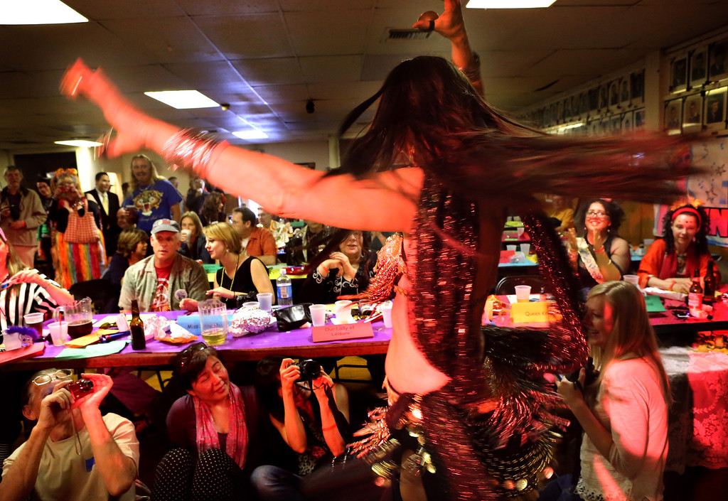 . Belly Dancer, Narayana Urbach of Pasadena, entertains the judges and crowds as she auditions for the title of Doo Dah Queen. The event, which was held at the  American Legion Bar in Pasadena on Sunday, April 7, 2013. was attended by hopeful contestants, judges, and fans of the Doo Dah parade.  ( Photo by Nancy Newman / Pasadena Star-News Correspondent )