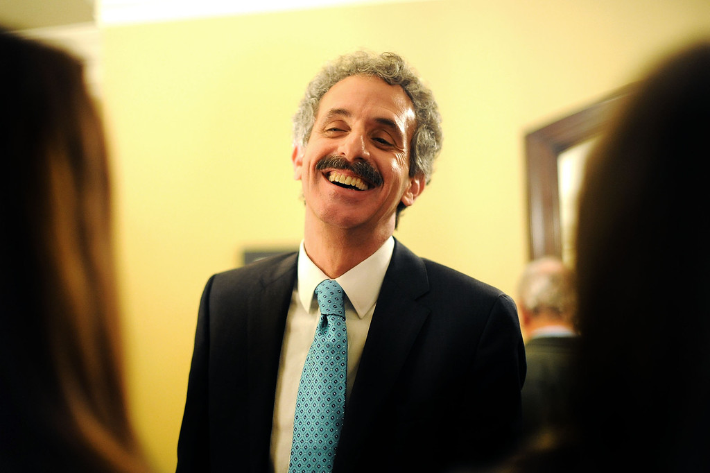 . City Attorney candidate Mike Feuer is all smiles during his election night party in Los Angeles, CA March 5, 2013.(Andy Holzman/Los Angeles Daily News)