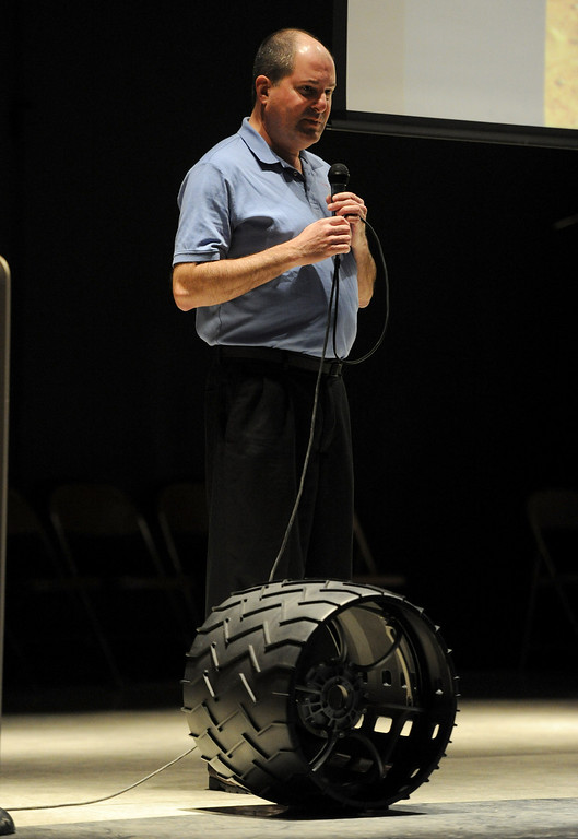 Description of . (John Valenzuela/Staff Photographer) Brian Cooper, lead rover driver of Curiosity and the worlds first Mars rover driver, paid a visit to eight graders at Cope Middle School in Redlands to speak about about his multiple missions to Mars. Cooper works for JPL in Pasadena.