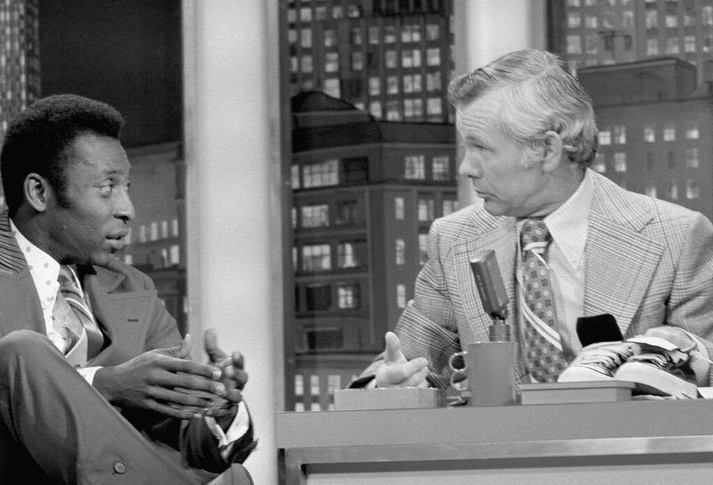 . Brazilian soccer star Pele appears on the ?Tonight Show? with Johnny Carson (NBC-TV) on May 7, 1973 in New York. (AP Photo/Allen Green)