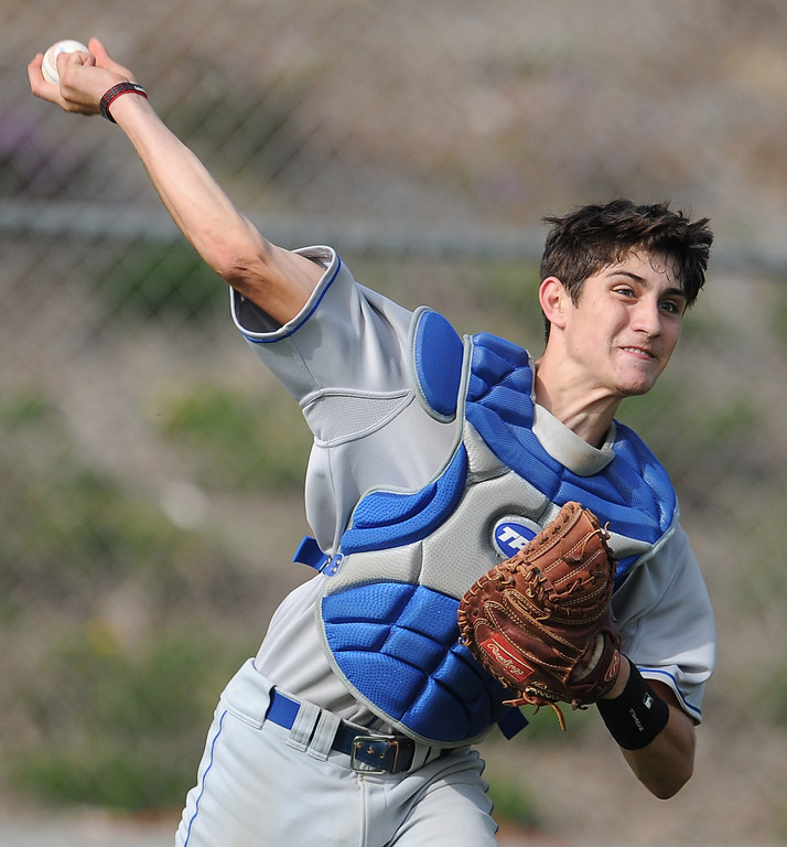 . Los Altos catcher Joey Morreale throws out Diamond Bar\'s Zeph Walters (C) (not pictured) in the third inning of a prep baseball game at Diamond Bar High School on Wednesday, March 20, 2013 in Diamond Bar, Calif. Diamond Bar won 9-1. (Keith Birmingham Pasadena Star-News)