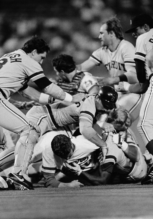 . Texas Rangers pitcher Mike Mason (16) ended up on the bottom of the pile on Wednesday night, May 8, 1985 after Detroit�s Barbaro Garbey charged the mound when Mason hit him with a pitch in the third inning at Arlington, Texas. Both benches cleared in the incident and Garbey was thrown out of the game. (AP Photo/RFH)