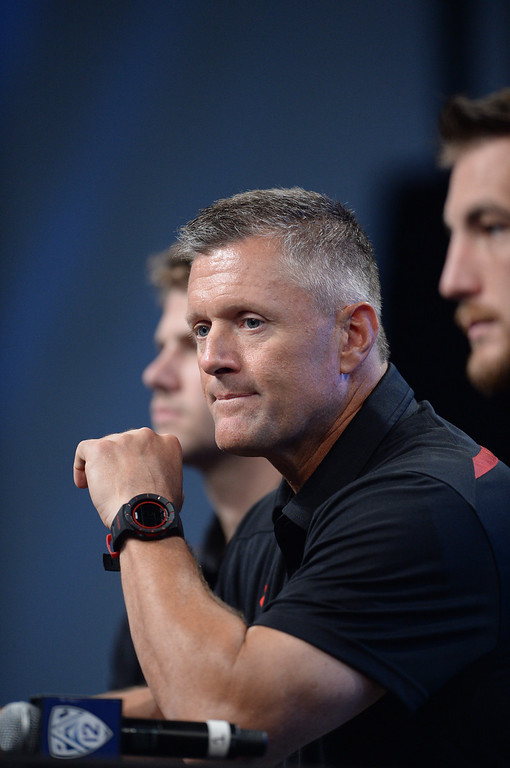 . Utah Coach Kyle Whittingham. Pac12 media Day at Sony Studios.  Photo by Brad Graverson 7-26-13