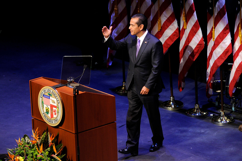 . Mayor Antonio Villaraigosa steps away from the podium after his State of the City address at UCLA, Tuesday, April 9, 2013. (Michael Owen Baker/Staff Photographer)