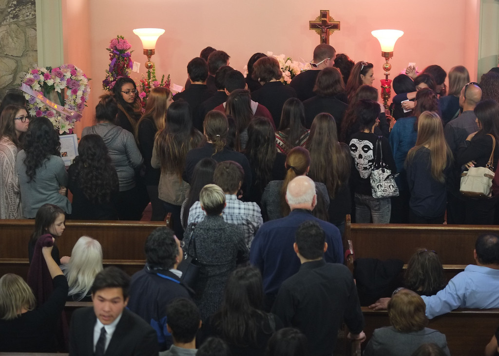 . Funeral services were held for Torrance High student Valentina d\'Alessandro Wednesday, December 11, 2013, in Torrance, CA. Hundreds of people attended the ceremony. D\'Alessandro was killed in a traffic collision in Wilmington Saturday. Photo by Steve McCrank/DailyBreeze
