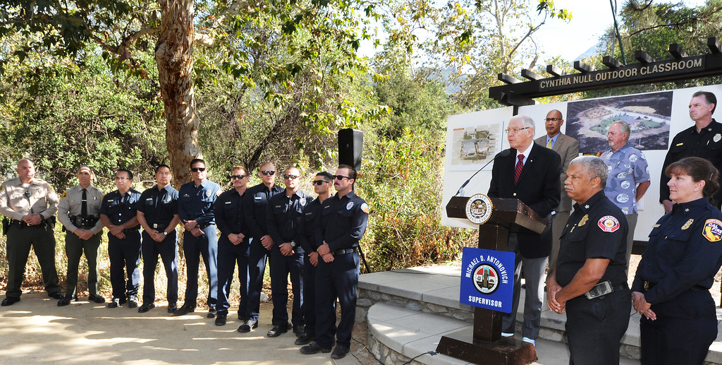 Description of . LA County Supervisor Michael Antonovich speaking at wildfire prevention news conference at Eaton Canyon Nature Center in Pasadena Friday, June 20, 2014. This summer fire season starts Saturday and may be even more fiery than usual, climatologists say. After years of drought, a warmer-than-average fall, winter and spring with 40 percent less rain this year, the Southland could be in for an especially scorching fire season. (Photo by Walt Mancini/Pasadena Star-News)