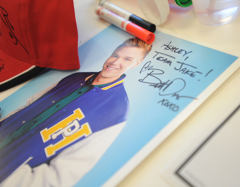 ". 04-18-2013-(LANG Staff Photo by Sean Hiller)-Toyota Grand Prix Celebrities visited Miller�s Children�s Hospital to visit the children they are raising money for through ""Racing for Kids.\""  Brett Davern signed autographs at the Thursday event."