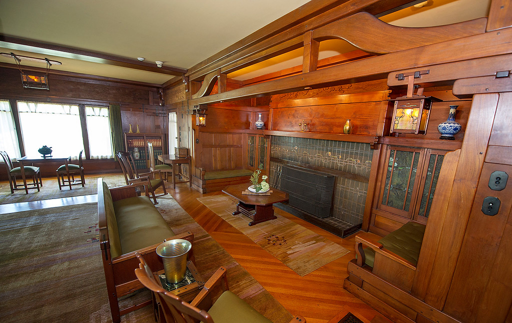 "Description of . Living room  area at the Gamble House Tuesday, July 16, 2013. LIVING ROOM ARE Will NOT BE PART OF THE UPSTAIRS/DOWNSTAIRS Tour. Fans of the BBC's ""Upstairs/Downstairs"" and ""Downton Abbey"" can get a rare, behind-the-scenes look at the real deal when the Gamble House, located at  4 Westmoreland Place in Pasadena. The Gamble House opens up its servants quarters for three weeks only, beginning Aug. 1. The tour is based on new findings about the Gamble family and its servants Part of the first floor will be closed on the tour due to renovations..(SGVN/Photo by Walt Mancini)"