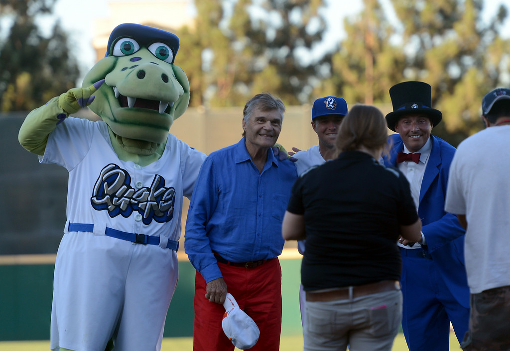 Description of . Actor Fred Willard poses for a photo after throwing out the first pitch at the Quakes game at LoanMart Field in Rancho Cucamonga, CA, Friday, August 15, 2014. (Photo by Jennifer Cappuccio Maher/Inland Valley Daily Bulletin)