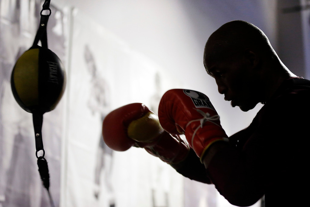 . Boxer Bernard Hopkins trains during a media workout, Tuesday, Feb. 19, 2013, in Philadelphia. Hopkins is scheduled to fight Tavoris Cloud on March 9 at the Barclays Center in New York. (AP Photo/Matt Rourke)