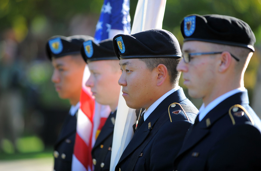 . CSULB celebrates Veterans Day with a short ceremony on the upper campus in Long Beach, CA on Thursday, November 7, 2013.  The CSULB ROTC color guard stands by prior to the ceremony before presenting the colors. (Photo by Scott Varley, Daily Breeze)