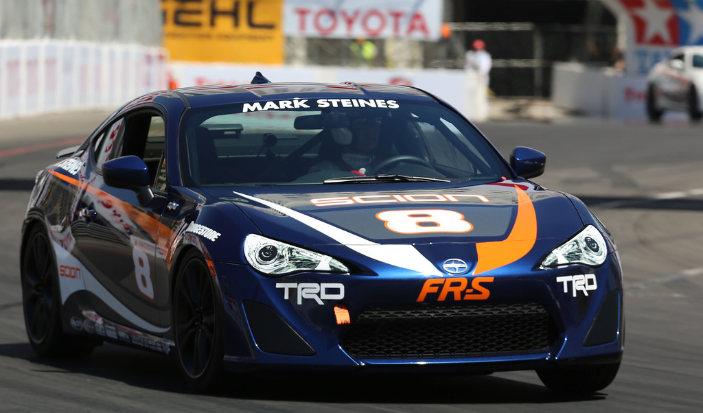 . Mark Steines during Friday morning practice session of the Pro/Celebrity race at the Toyota Grand Prix of Long Beach April 19, 2013. Chuck Bennett/Staff Photographer